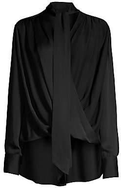 6dbb8df9b0fd0 Derek Lam Women s Silk Draped Tie-Neck Wrap Blouse