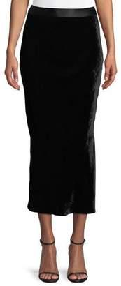 Theory Crinkle Velvet Slip Midi Skirt