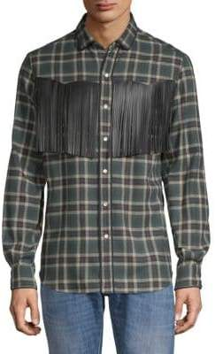 Valentino Plaid Fringed Button-Down Shirt