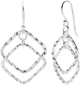 STERLING SILVER EARRINGS Sterling Silver Hammered Double Diamond-Shaped Earrings