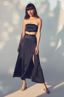 Urban Outfitters Jen Silky Slit Maxi Skirt