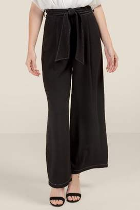 francesca's Jessy High Rise Paperbag Waist Pants - Black