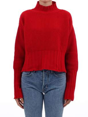 MSGM Red Cropped Oversize Sweater