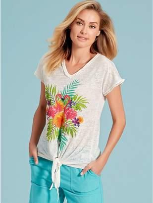 M&Co Floral flamingo print tie front top