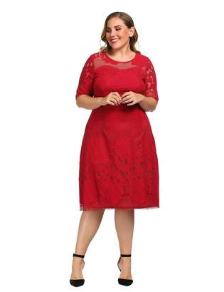 5b784f8bbab Chicwe Women s Lined Floral Lace Plus Size Dress Size 4X