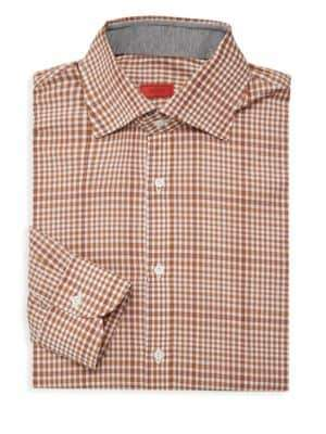 Isaia Plaid Spread Collar Dress Shirt