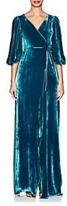 Juan Carlos Obando Women's Velvet Wrap Gown - Teal