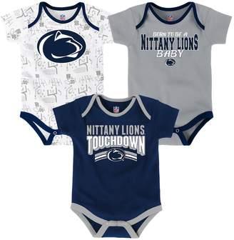 NCAA Kohl's Baby Penn State Nittany Lions Playmaker 3-Pack Bodysuit Set