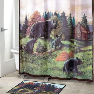 Kohls Avanti Black Bear Lodge Fabric Shower Curtain