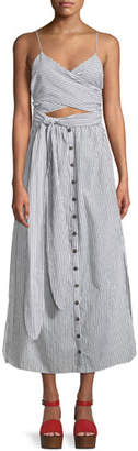 Mara Hoffman Thora Striped Crisscross Self-Tie Cotton Dress
