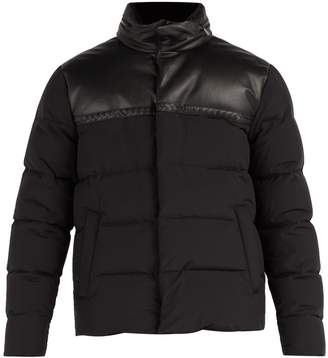 Bottega Veneta Intrecciato leather and wool-blend down jacket