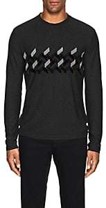 Giorgio Armani Men's Chenille-Trimmed Sweater - Gray
