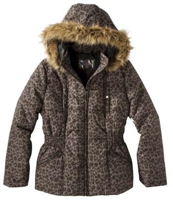 Women's Plus-Size Outerwear Hooded Jacket - Brown Print