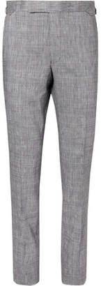 Richard James Navy Hyde Prince Of Wales Checked Slub Linen-Blend Suit Trousers