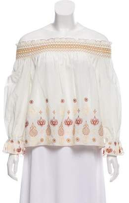 Rachel Zoe Embroidered Smocked Top w/ Tags