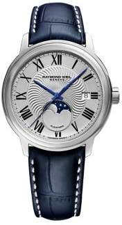 Raymond Weil Maestro Moonphase Stainless Steel and Leather-Strap Watch