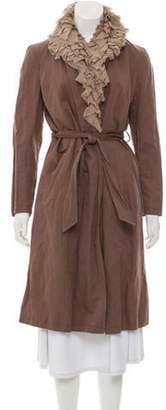 Gryphon Linen-Blend Ruffle-Accented Coat Linen-Blend Ruffle-Accented Coat