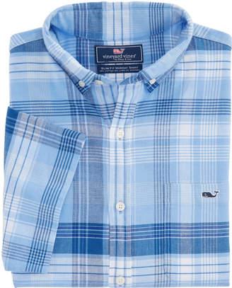 Vineyard Vines Short-Sleeve Sea Splash Beach Flannel Slim Tucker Shirt