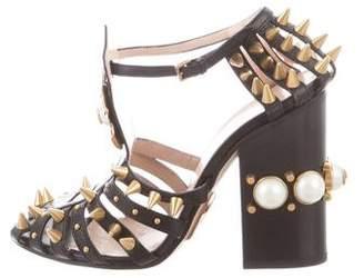 Gucci Kendall Embellished Peep-Toe Pumps