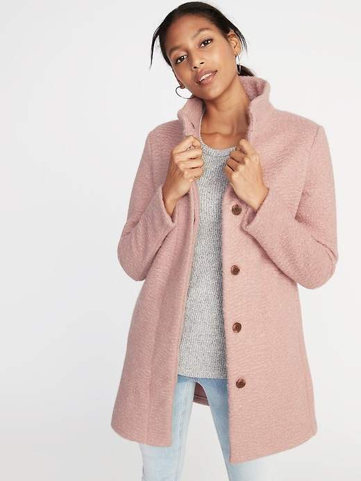 Mock-Neck Bouclé Coat for Women