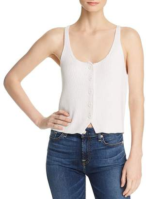 7 For All Mankind Ribbed-Knit Button-Front Tank