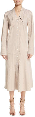 Tibi Kaia Striped Dropped-Waist Long Shirtdress