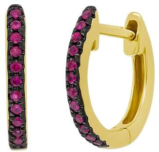 Ron Hami 14K Yellow Gold Ruby Huggie 11mm Hoop Earrings