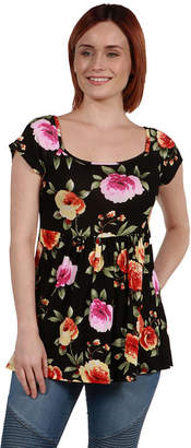 24/7 Comfort Apparel 24Seven Comfort Apparel Drew Black Floral Short Sleeve Tunic Top - Plus