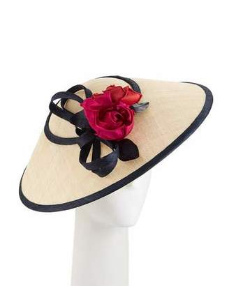 Rachel Trevor-morgan Rachel Trevor Morgan Two-Tone Straw Perching Hat w/ Rosettes