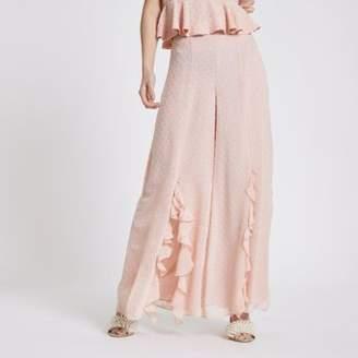 River Island Womens Petite pink polka dot wide leg pant