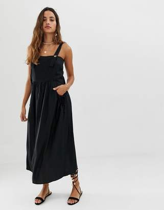 Asos Design DESIGN dungaree midi sundress with pocket detail