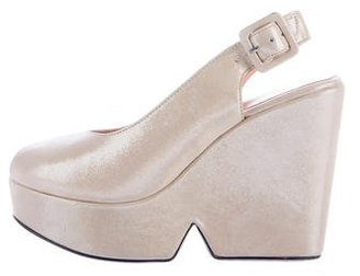 Robert Clergerie Metallic Dylane Wedges $95 thestylecure.com