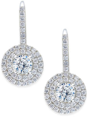 Arabella Swarovski Zirconia Circle Cluster Drop Earrings in Sterling Silver