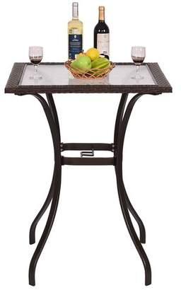 Winston Porter Carly Patio Steel/Rattan Bar Table