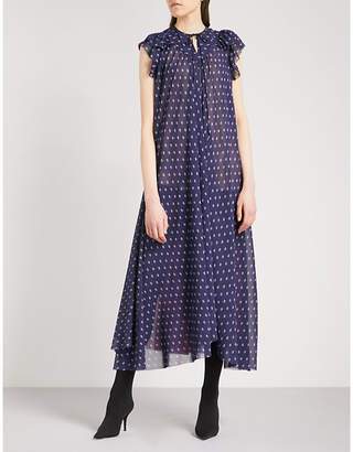 Balenciaga Patchwork printed chiffon midi dress