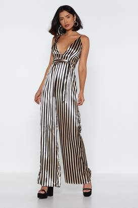 Nasty Gal Stripe to Me Plunging Wide-Leg Jumpsuit