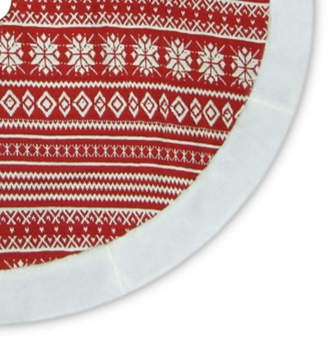 Asstd National Brand 48 Red and White Knitted Snowflake Christmas Tree Skirt with Faux Fur Trim