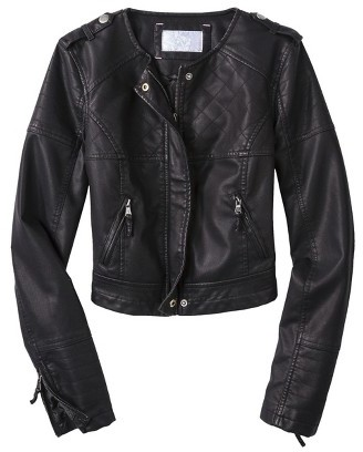Xhilaration Junior's Quilted Faux Leather Jacket -Black
