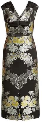 Erdem Gretchen Adele Rose Jacquard Midi Dress - Womens - Black Multi