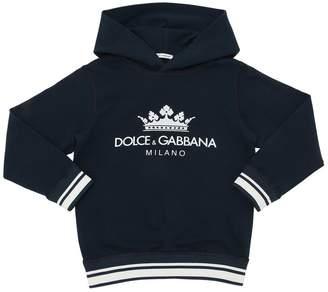 Dolce & Gabbana Logo Print Hooded Cotton Sweatshirt