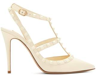 Valentino Rockstud Leather Pumps - Womens - White