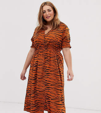 3f65d46856eb Influence Plus shirred sleeve midi dress with button down front in tiger  print