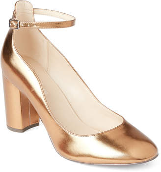 Marc Fisher Bronze Imagie Metallic Ankle Strap Pumps