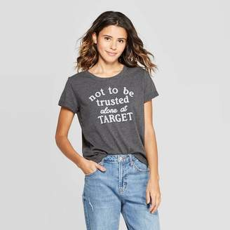 Fifth Sun Women's Short Sleeve Not Trusted At Target T-Shirt Juniors') - Charcoal Heather