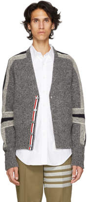 Thom Browne Grey Intarsia Stripe Classic V-Neck Cardigan