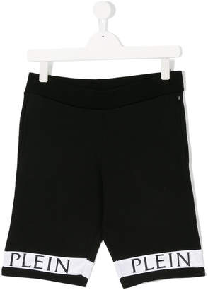 Philipp Plein Junior logo hem sweat shorts
