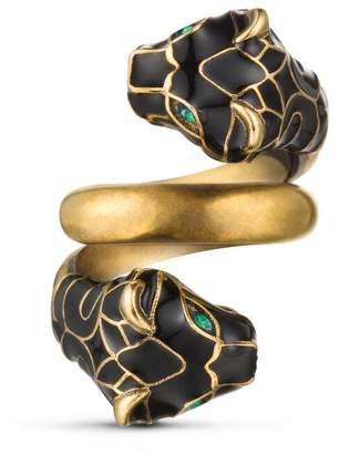 Gucci Tiger head ring with black enamel