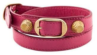 Balenciaga Arena Leather Giant Double Tour Wrap Bracelet Pink Arena Leather Giant Double Tour Wrap Bracelet