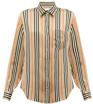 Burberry Icon Stripe Silk Shirt - Womens - Beige Multi