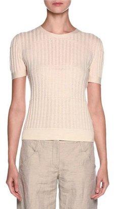 Giorgio Armani Short-Sleeve Pointelle Cashmere Tee, Ivory $1,695 thestylecure.com